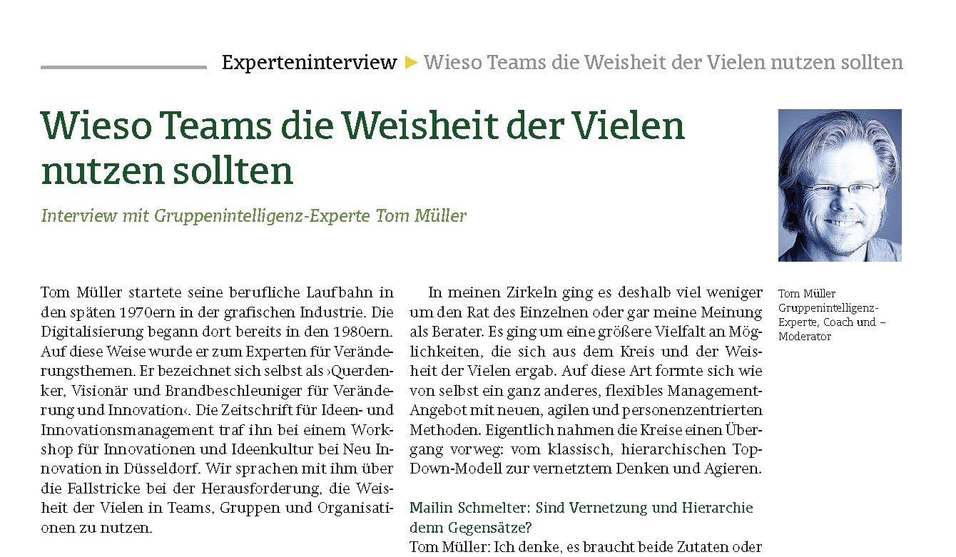 Seitendarstellung des Interviews im Fachmagazin Ideen- und Innovationsmanagement 'Wieso Teams die Weisheit der Vielen nutzen sollten' mit Gruppenintelligenz-Experte Tom Müller