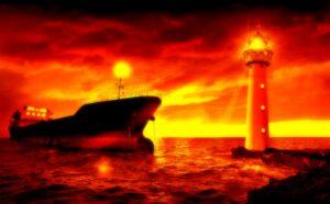 Schiff ankert vor Leuchtturm